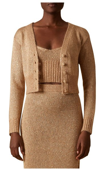 Altuzarra latania sequin knit cropped sweater in biscotti