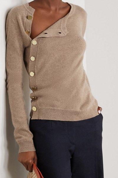 Altuzarra minamoto button-embellished cashmere sweater in beige
