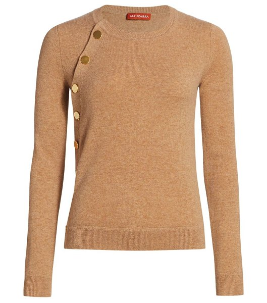 Altuzarra minamoto cashmere button knit sweater in biscotti