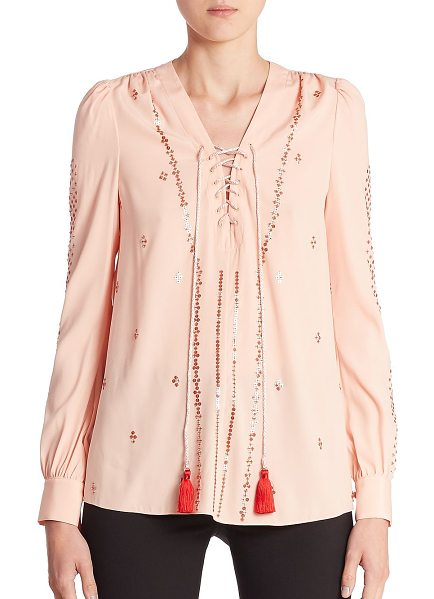 ALTUZARRA sequin embellished blouse - Shimmering sequins enliven this lace-up blouse.V-neck....