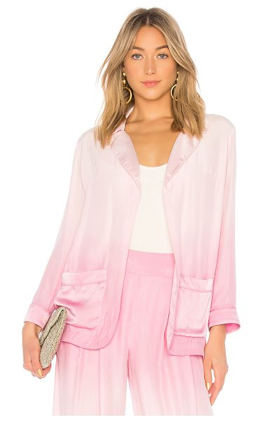Amanda Bond Matilda Blazer in pink - 100% silk. Front patch pockets. Ombre dye detail....