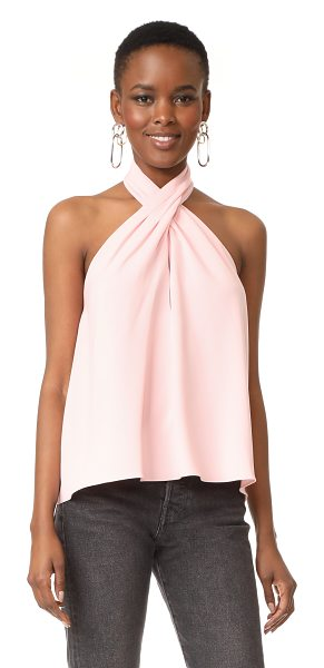 Amanda Uprichard beckett top in dusty rose - Pleated halter straps create a soft ripple effect on...