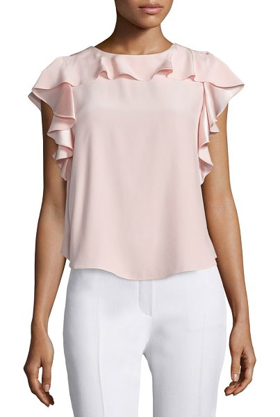 "Amanda Uprichard Colette flutter-sleeve ruffle top in dusty rose - Amanda Uprichard ""Colette"" woven top. Approx. length:..."