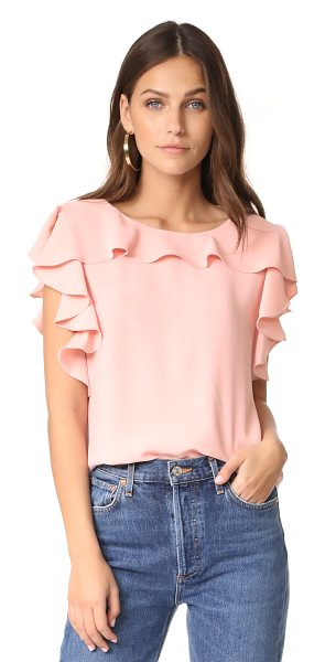 Amanda Uprichard colette top in dusty rose - Cascading ruffles bring playful style to this loose...