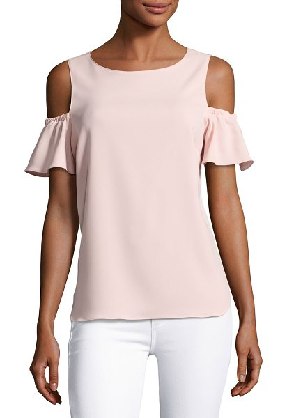 "AMANDA UPRICHARD Dryden Cold-Shoulder Capri Top in pink - Amanda Uprichard ""Dryden"" top. Round neckline...."