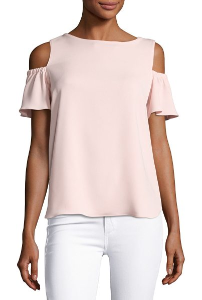"Amanda Uprichard Dryden Crepe Cold-Shoulder Top in pink - Amanda Uprichard ""Dryden"" crepe top. Boat neckline;..."