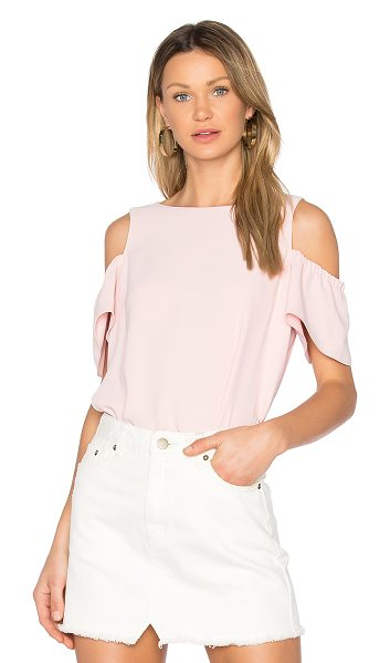 Amanda Uprichard Dryden Top in pink - 100% poly. Dry clean only. Elasticized shoulder...