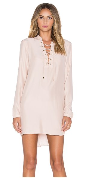 Amanda Uprichard Ivy long sleeve dress in blush - 100% silk. Dry clean only. Unlined. Front lace-up...