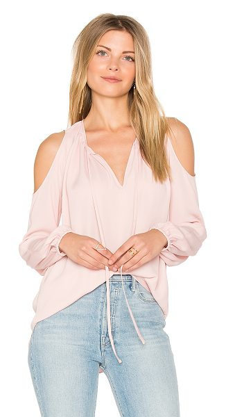 Amanda Uprichard Katherine Top in rose - Poly blend. Dry clean only. Neckline keyhole with tie...