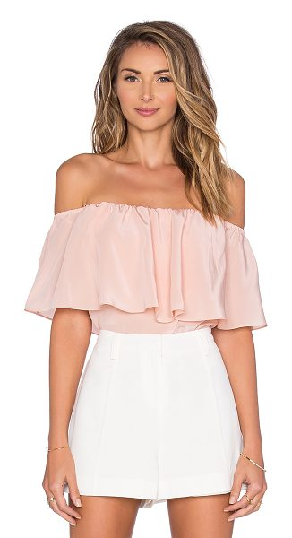 Amanda Uprichard Kiara Off the Shoulder Top in blush - Silk blend. Dry clean only. Elastic neckline. Draped...