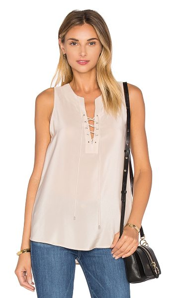 Amanda Uprichard Michaela Tank in blush - 100% silk. Dry clean only. Lace-up detail. AMAN-WS462. S...