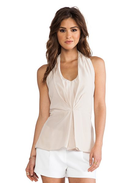 Amanda Uprichard Pleated Halter Top in taupe - 100% silk. Dry clean only. Pleated front detail. Elastic...