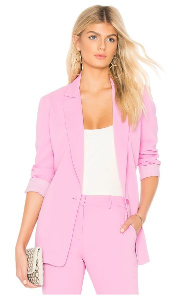 Amanda Uprichard X REVOLVE Blazer in pink - 100% poly. Dry clean only. Single button closure....