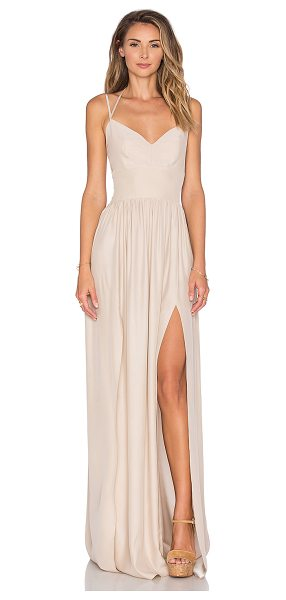 """Amanda Uprichard Rio Maxi Dress in beige - """"Silk blend. Dry clean only. Unlined. Adjustable..."""