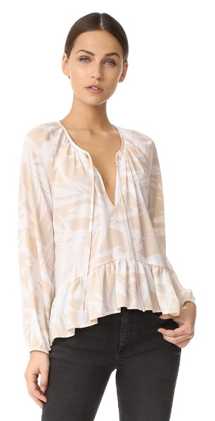 Amanda Uprichard sage top in desert - A simple bird-of-paradise pattern details this...