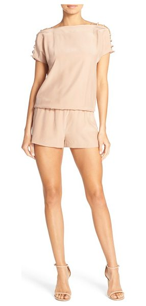 Amanda Uprichard sloan cutout silk romper in beige - A leg-flaunting, American-made romper cut from pure silk...