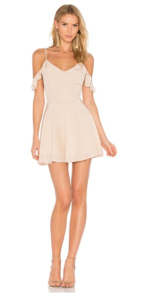 Amanda Uprichard Tate Dress in beige - Silk blend. Dry clean only. Fully lined. Ruffle sleeves....