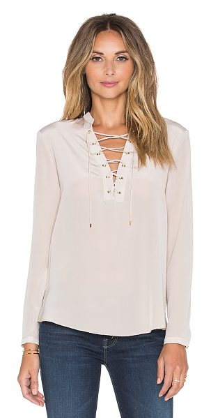 Amanda Uprichard Winslow top in blush - 100% silk. Dry clean only. Lace-up front. Buttoned...