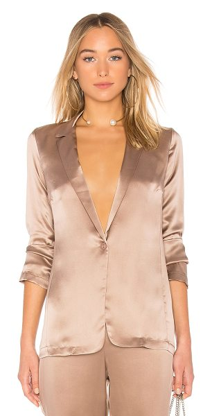 Amanda Uprichard Yvonne Blazer in taupe - 100% silk. Dry clean only. Front button closure....