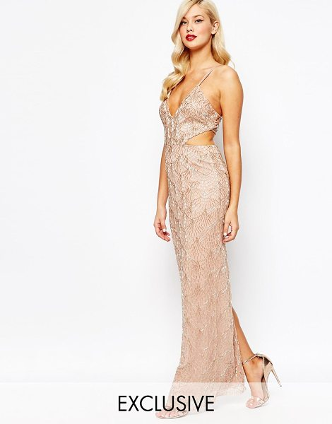 Amelia Rose All over embellished cut out maxi dress in rose gold - Maxi dress by Amelia Rose Sequin embellished mesh Fully...