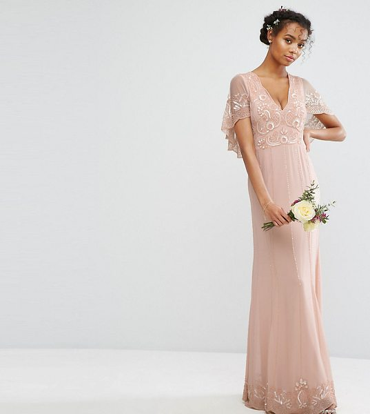 "Amelia Rose Cape Maxi Dress with Embellishment and Scalloping in pink - """"Maxi dress by Amelia Rose, Lined chiffon, Bead and..."