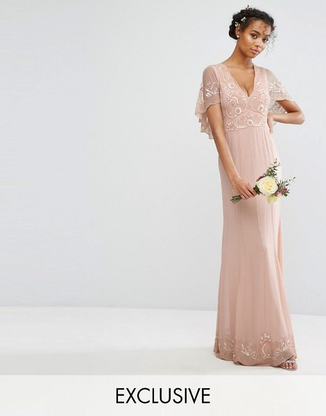 "Amelia Rose cape maxi dress with embellishment and scalloping in softpink - """"Maxi dress by Amelia Rose, Lined chiffon, Bead and..."