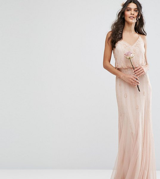 "Amelia Rose Embellished Overlay Maxi Dress With Mesh Insert Skirt in pink - """"Maxi dress by Amelia Rose, Sheer embellished fabric,..."