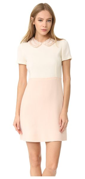 AMELIA TORO wool crepe dress in white/rose - An embroidered peter pan collar brings feminine charm to...