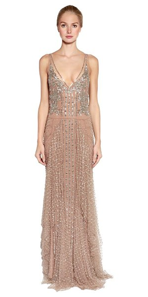 Amen Couture Embellished stretch tulle gown in nude