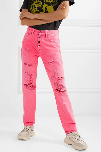 AMIRI distressed high-rise jeans in bright pink