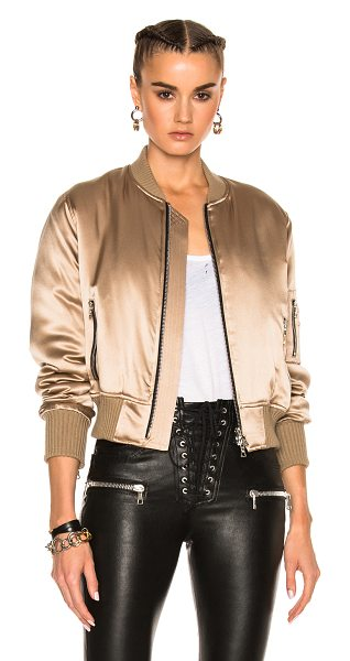 AMIRI Silk Bomber in neutrals - Self: 100% silk - Rib: 90% cotton 10% cashmere - Fill:...