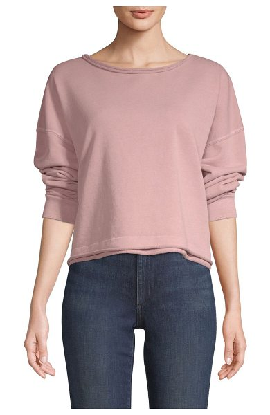 AMO cropped sweatshirt in rose gold - Cropped pullover with distressed details and a boxy...
