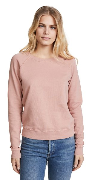 AMO raglan sweatshirt in vintage rose with destroy - Fabric: French terry Solid-color design Distressed...