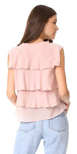 AMO ruffle tank in rose - A boxy AMO tank in double-layered cotton gauze....