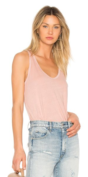AMO Sunday Tank in rose - Cotton blend. Slub knit fabric. Distressed edges....