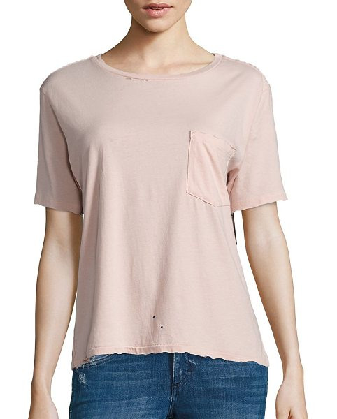 AMO tomboy pocket t-shirt in blush - Breezy T-shirt highlighted with subtle distress details....