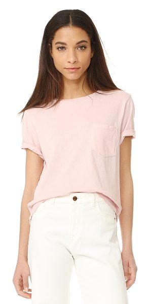AMO tomboy pocket tee in blush - Distressed edges and holes at the neckline add a...