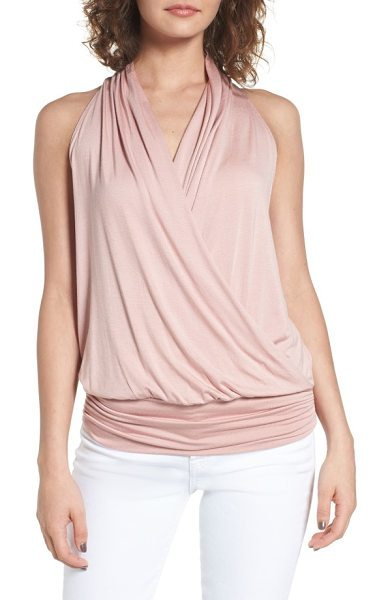 amour vert 'agnes' surplice tank in soft pink - Soft modal jersey fashions a sleeveless top with an...