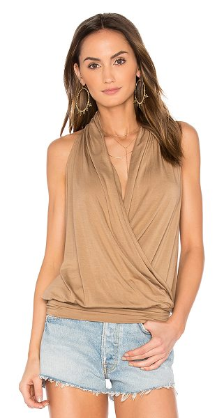 amour vert Agnes Tank in tawney brown - 94% modal 6% spandex. Jersey knit fabric. Crossover...