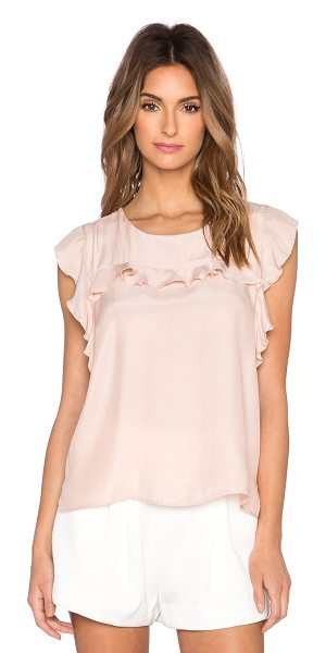 amour vert Delfina top in blush - 100% silk. Dry clean only. Ruffle sleeves. Back keyhole...