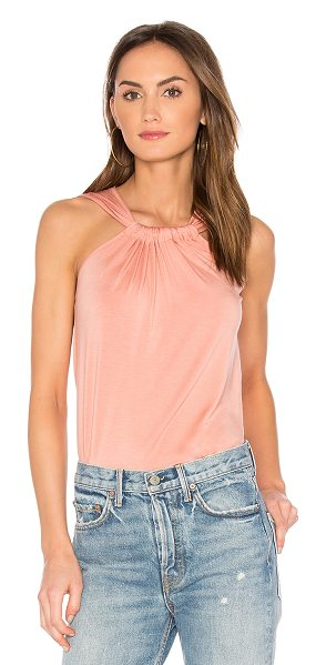 amour vert Mora Tank in rose - 94% modal 6% spandex. Jersey knit fabric. Shirred...