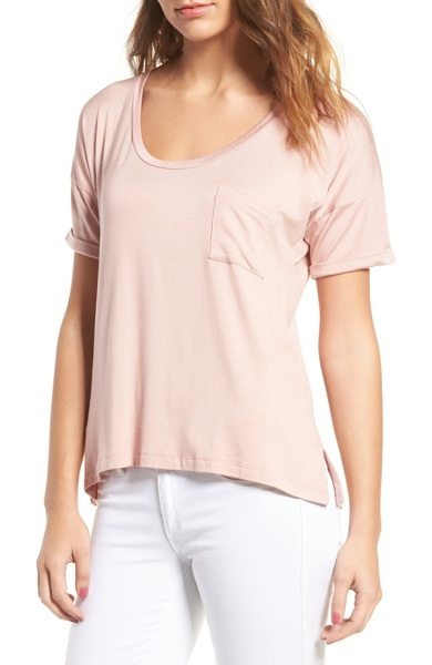 amour vert paxton pocket tee in soft pink - Ultrasoft and stretchy, this drapey tee features special...