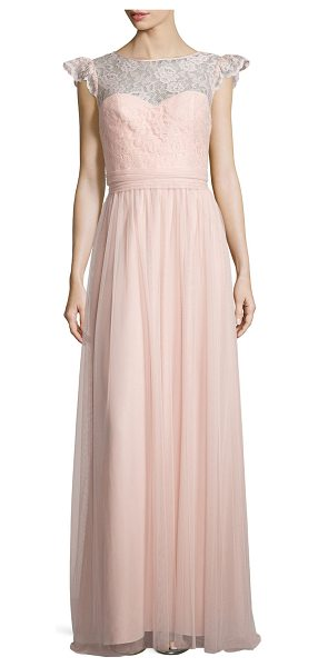 Amsale Cap-Sleeve Lace-Trim Tulle Gown in blush - Amsale tulle gown, ideal as bridesmaid's dress. Approx....