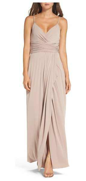 Amsale celina mock wrap gown in latte
