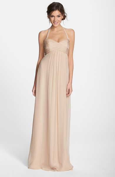 Amsale chiffon halter gown in fawn - Beautifully crinkled chiffon fashions an Empire-waist...