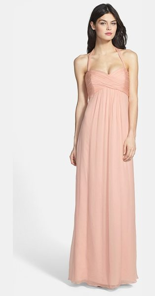 Amsale chiffon halter gown in blush - Beautifully crinkled chiffon fashions an Empire-waist...