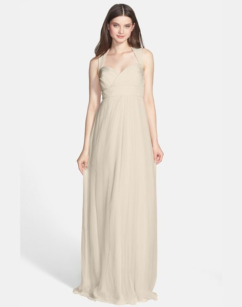 Amsale crinkled silk chiffon gown in champagne - A daring cutout closed by a floating tie at the neck...