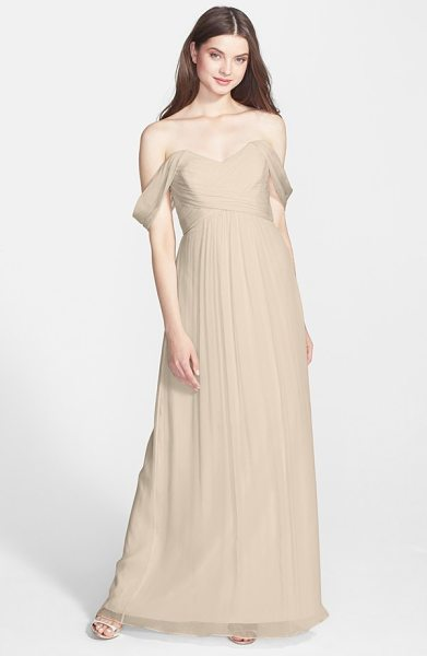 Amsale convertible crinkled silk chiffon gown in champagne - Lovely sheer straps suspending a dreamy silk-chiffon...
