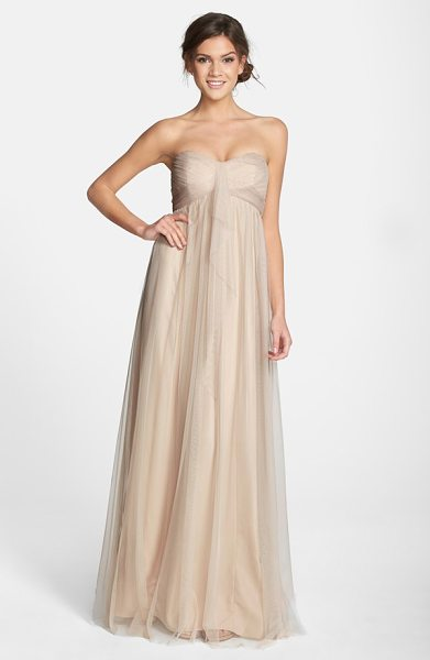 Amsale drape strapless tulle gown in fawn - Tissue-weight tulle is expertly shirred and wrapped...