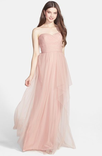 Amsale draped tulle gown in blush